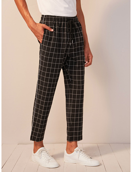 Guys Drawstring Waist Slant Pocket Grid Pants by Romwe