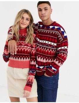 Asos Design – Sweter Z Odwijanym Golfem W żakardowy Wzór Dla Niej I Dla Niego by AsosDesign