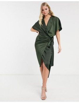 Asos Design Wrap Kimono Midi Dress With Tie Waist by Asos Design