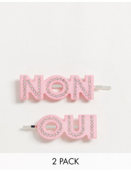 Pasadores Para El Pelo En Rosa Con Adornos Oui/Non De Monki by Monki
