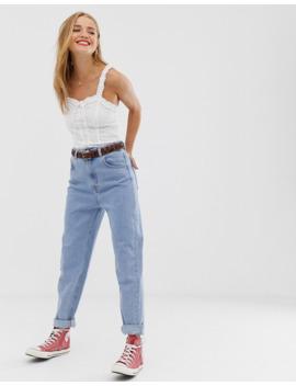 Pull&Amp;Bear – Blå Mom Jeans Med Elastisk Midja by Pull&Bear