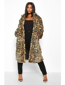 Plus Leopard Print Faux Fur Coat by Boohoo