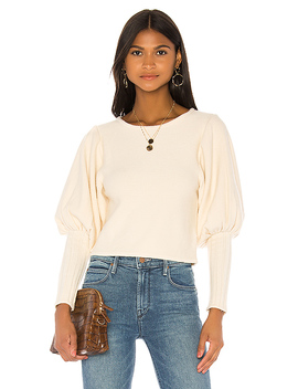 Puff Sleeve Sweater In White by Majorelle