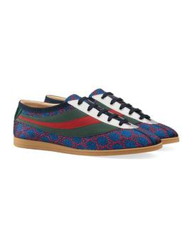 Blue Men's Falacer Lurex Gg Supreme Web Sneakers Flats by Gucci