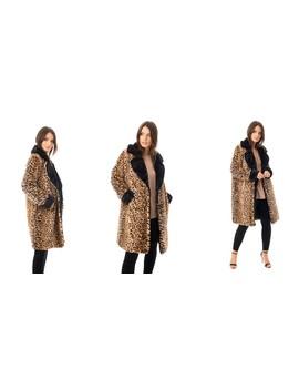 Animal Print Faux Fur Coat In Black by Urban Mist