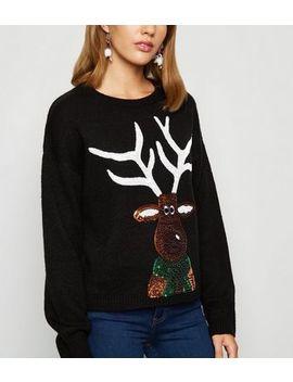 Black Christmas Sequin Reindeer Jumper by New Look