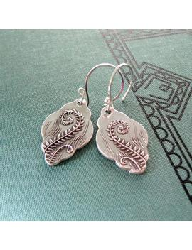 Fiddleheads No. 2, Artisan Pmc Jewelry, Fine Silver Fern Earrings, Silver Wishes Original And Exclusive by Etsy