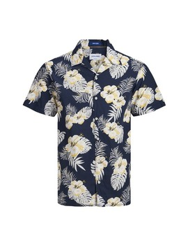 Cole Floral Short Sleeve Comfort Fit Hawaiian Shirt by Jack & Jones