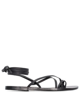 Black Morfi Leather Sandals by Ancient Greek Sandals
