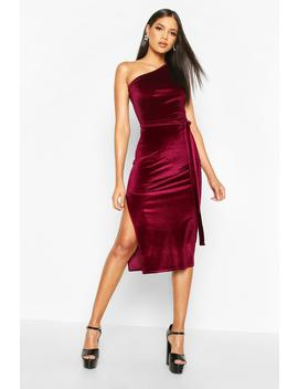 Tall Belted One Shoulder Velvet Midi Dress by Boohoo