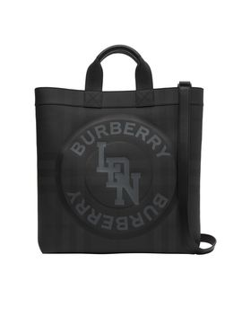 Logo Graphic London Check Tote by Burberry