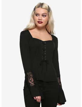 Black Sweetheart Neckline Bell Sleeve Girls Top by Hot Topic