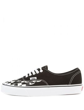 Authentic Checkerboard Flame Skate Shoes Black/White by Vans
