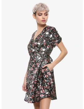 Skulls &Amp; Florals Satin Wrap Dress by Hot Topic