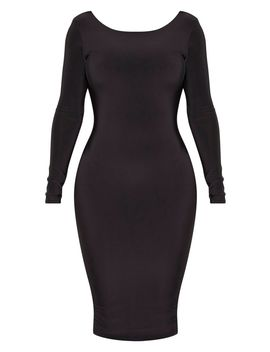 Shape Black Slinky Long Sleeve Ruched Back Midi Dress by Prettylittlething
