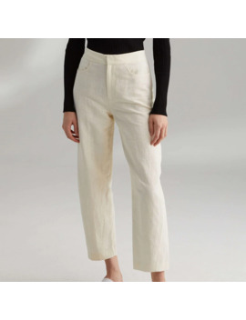 Women Pants Novara Ivory White Mixed Black Cotton Linen For Women High Waist Straight Tube Trousers by Ali Express.Com