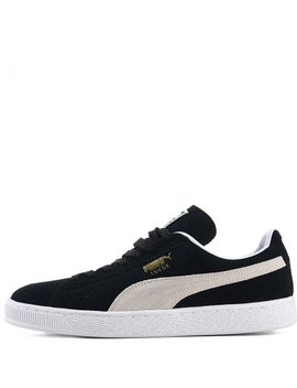 Men's Suede Classic Casual Sneaker Black/Beige by Puma