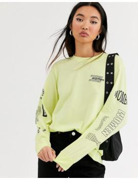 Monki – Limegrön, Långärmad Oversize T Shirt Med Tryck by Monki