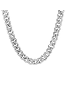 Men's Steeltime Stainless Steel Cuban Necklace   White by Steeltime