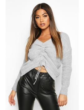 Ruched Front Knitted Jumper by Boohoo