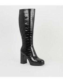 Black Patent Faux Croc Heeled Knee High Boots by New Look