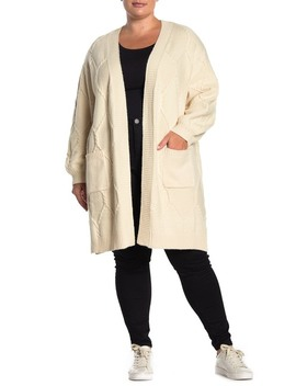 Cable Knit Open Front Cardigan (Plus Size) by Pleione