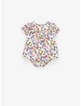 Kleid Aus Mikrokord Mit Blumenmuster by Zara