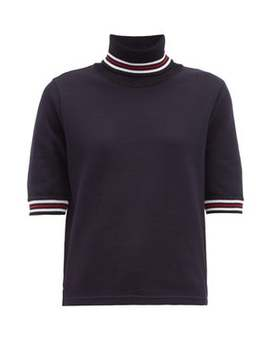 Striped Cotton Piqué Roll Neck T Shirt by Thom Browne