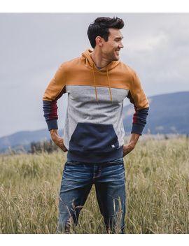 Color Block Hooded Sweatshirt by Departwest