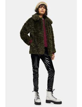 Khaki Curly Borg Coat by Topshop
