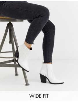 Asos Design Wide Fit Elliot Western Boots In White Croc by Asos Design