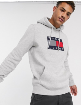 Tommy Jeans Metallic Capsule Flag Chest Logo Hoodie In Grey Marl by Tommy Jeans
