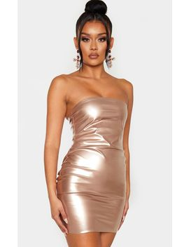 Rose Gold Metallic Bandeau Bodycon Dress by Prettylittlething