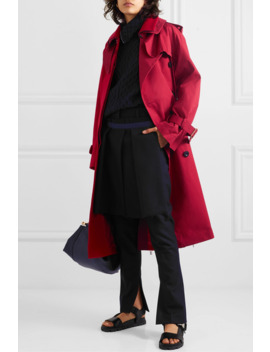 Melton Wool And Cotton Gabardine Trench Coat by Sacai
