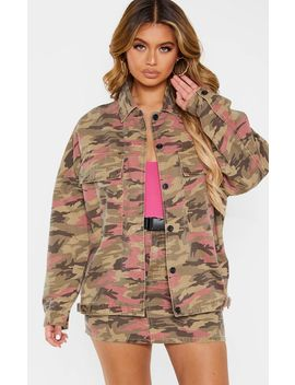 Camo Boyfriend Oversized Trucker Jacket  by Prettylittlething