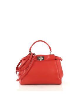 Peekaboo Mini Red Leather Tote by Fendi