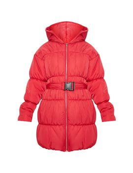 Red Belted Puffer Jacket by Prettylittlething