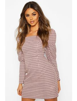 Puff Sleeve Check Belted Dress by Boohoo