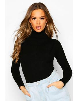 Rib Knit Turtle Neck Top by Boohoo