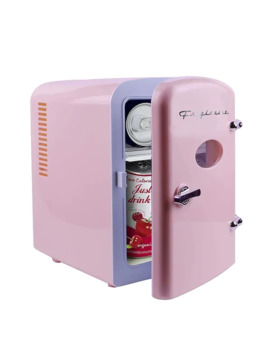 Frigidaire Retro Mini Compact Beverage Refrigerator Pink, 6 Can Efmis129 Pink Refurbished by Frigidaire
