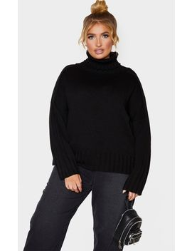Plus Black Roll Neck Knit Jumper  by Prettylittlething