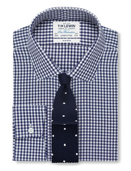 Non Iron Navy Gingham Super Fitted Shirt by T.M.Lewin