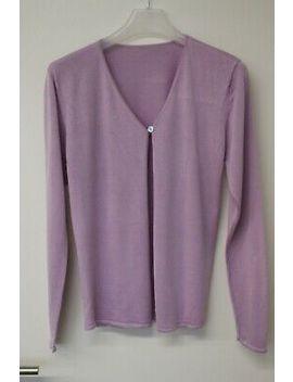 Damen Weste Jacke Strickjacke Jacket Cardigan Flieder Seide Silk  M  38 by Ebay Seller