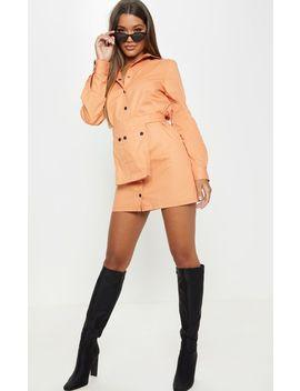 Dusty Orange Utility Tie Waist Bag Detail Shirt Dress by Prettylittlething