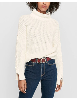 Cable Cut Out Sleeve Mock Neck Sweater by Express