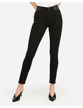High Waisted Black Vegan Leather Inset Jean Leggings by Express