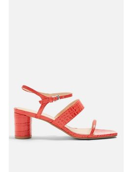 **Wide Fit Dita Red Strap Sandals by Topshop