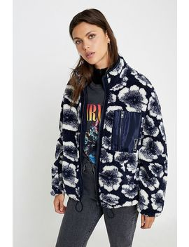 Uo Wallace Floral Oversized Fleece Jacket by Urban Outfitters