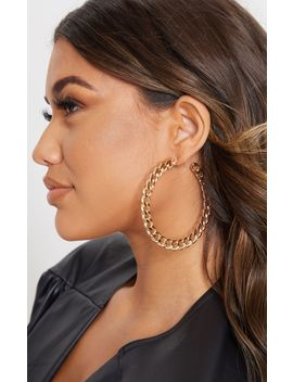 Gold Chunky Chain Large Hoop Earring by Prettylittlething
