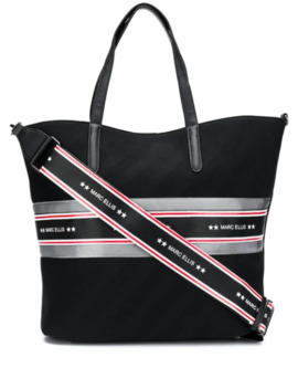 Striped Logo Tote Bag by Marc Ellis